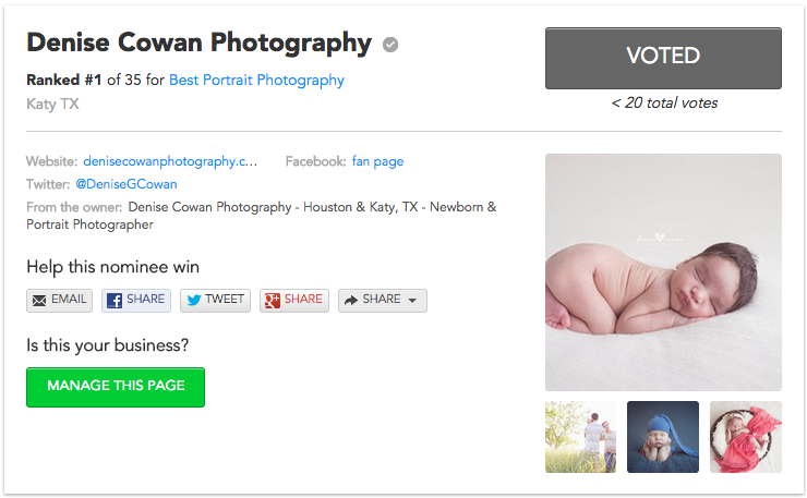 Vote Denise Cowan Photography for Best Portrait Photography Houston A-List