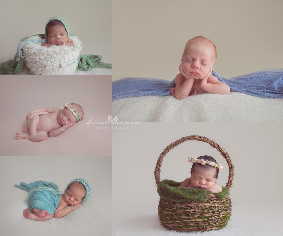 head in hands pose babies in baskets pink and blue