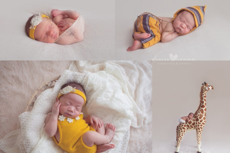 newborns in yellow on giraffe